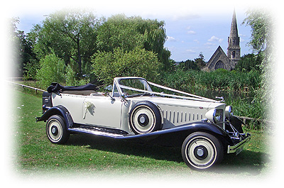 Stunning ivory and black vintage Beauford Tourer.  Essex Wedding Car Hire company