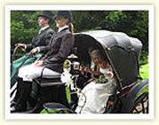 Wedding Horse and Carriage hire, Victorian carriage with the hood up