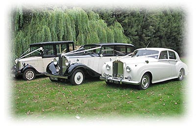 Three wedding cars from an Essex Wedding Car Hire company