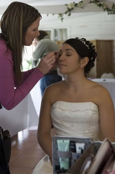 Professional Essex Wedding Makeup artist applying bridal make-up
